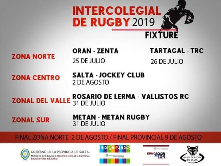 Fixture del Torneo Pronvincial Intercolegial de Rugby de Salta