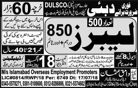 Latest Jobs in Dubai for Labor