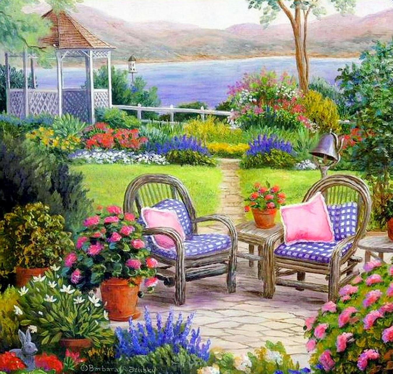 Pintura moderna y fotograf a art stica paisaje con - Paisajes y jardines ...