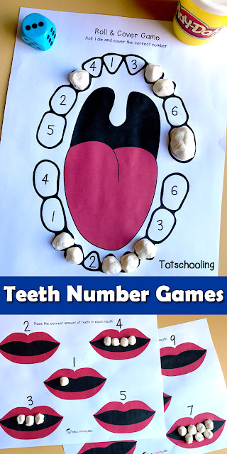Teeth Number Games for Preschool | Totschooling - Toddler ...