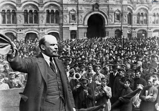 picture of Vladimir Lenin in front of a crowd