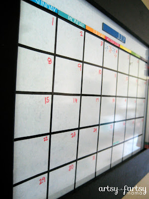 Diy whiteboard calendar artsy fartsy mama i also decided it would be easier to place a magnetic notebook to the empty side of the calendar instead of writing it all out in marker then rewriting solutioingenieria Image collections