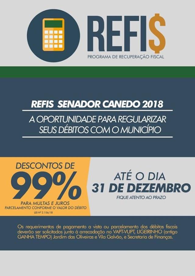 Senador Canedo: REFIS 2018