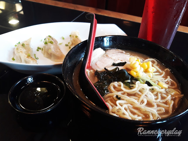 Pork Chasu Ramen with Steamed Gyoza and Red Iced Tea Shinzen Malolos
