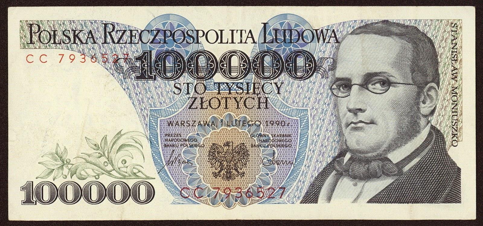 Poland Banknotes 100000 Zloty banknote 1990 Stanislaw Moniuszko