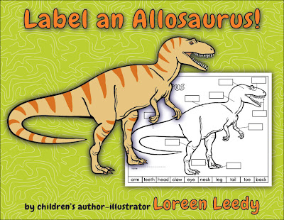 Diagram of an allosaurus dinosaur to label. CCSS.ELA-Literacy.RI.2.7