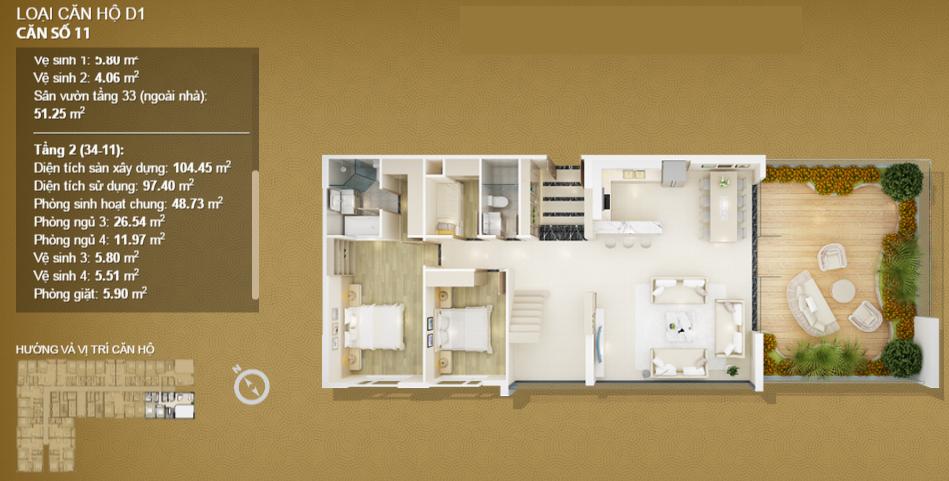 Căn hộ 11 tầng 34