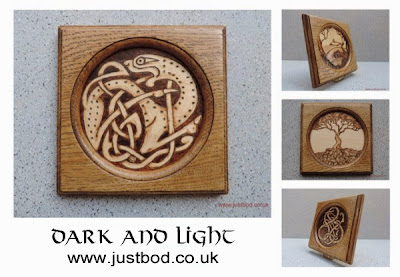 Handmade oak plaques with pyrography designs