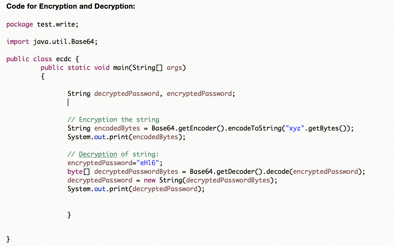 Cucumber Testing Framework - Code for Encryption and