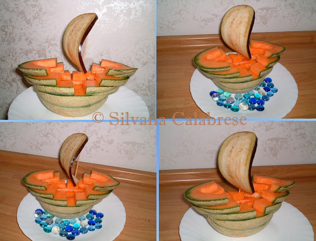 Intagli frutta verdura Veliero con melone Silvana Calabrese - Blog