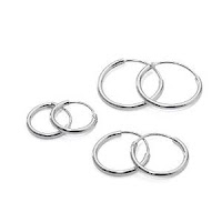 3 Pairs Sterling Silver Small Endless Hoop Earrings for Cartilage, Nose, Lips £11.04