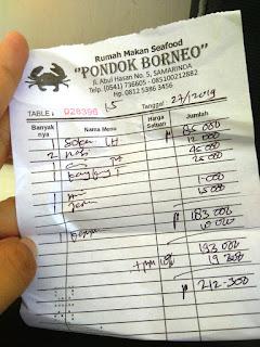 beberapa harga menu di RM Pondok Borneo