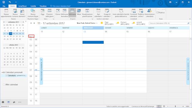 Calendario Outlook, doppio fuso orario