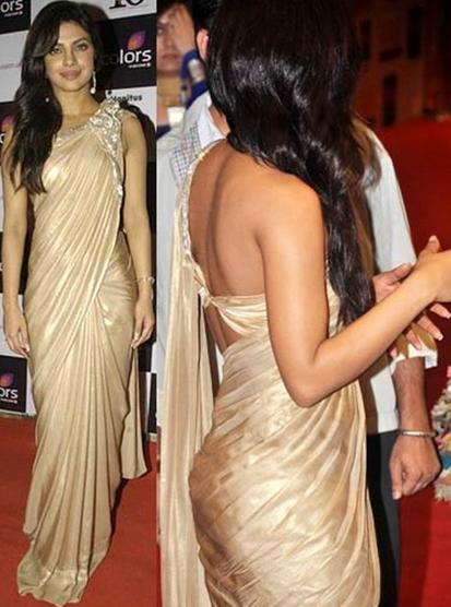 Priyanka Chopra in golden saree, Priyanka Chopra hot back in saree