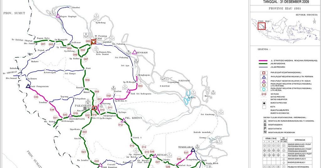Peta Provinsi Riau dengan Jaringan Jalan Nasional dan ...