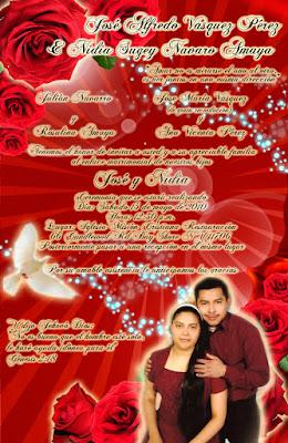 Tarjeta de Invitación para Boda Elegante y Novedosa Roja con Rosas Rojas