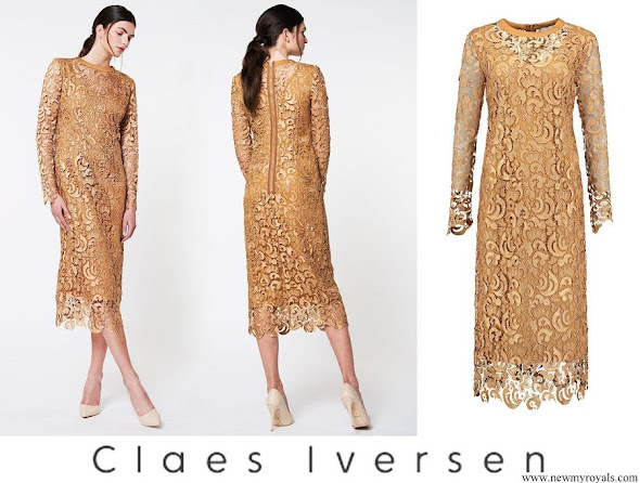 Queen Maxima wore Claes Iversen Serval Elegant Lace Midi Dress in Tobacco Brown