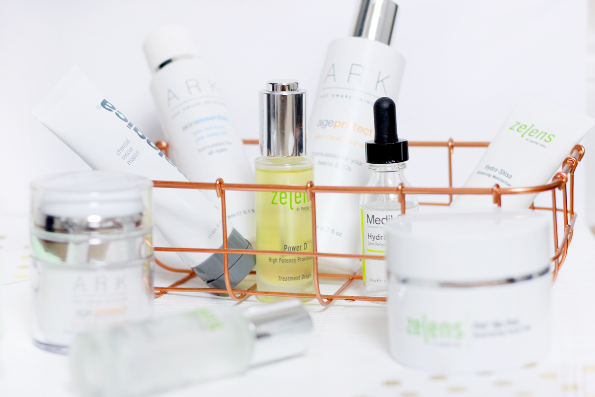 an image of skincare products from Zelens, ARK and Dermalogica