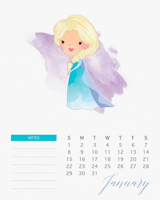 Calendario 2017 de las Princesas Disney para Imprimir Gratis  Enero.