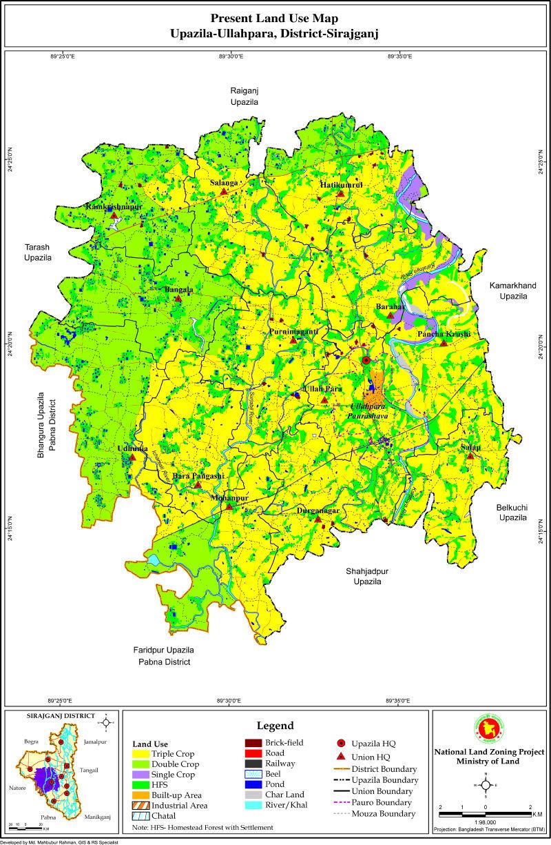 Ullapara Upazila Mouza Map Sirajganj District Bangladesh