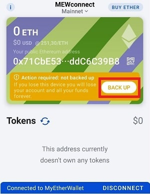 My Ether Wallet MEWconnect STATUS (SNT)