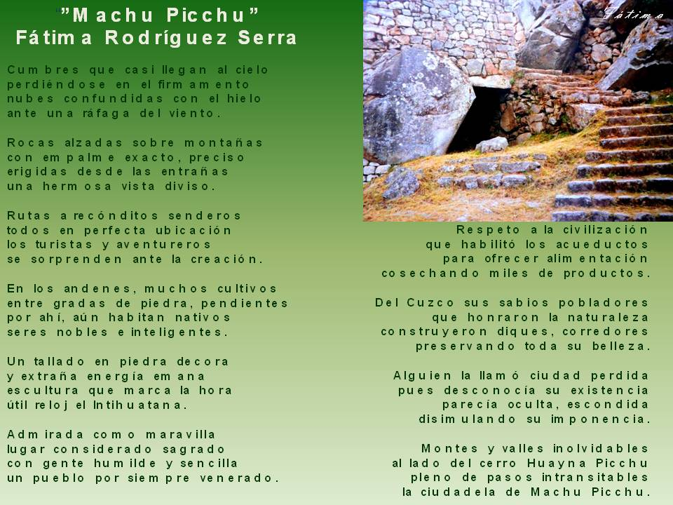 Poemas De Amor Poema Machu Picchu