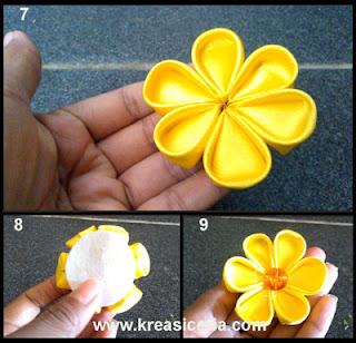 Tutorial bross kanzashi model bunga dari kain satin part 2