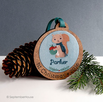 Personalized Baby's First Christmas Holiday Ornament Squirrel design