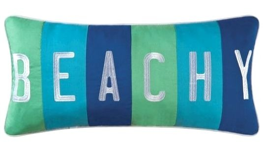 Blue Green Stripe Lumbar Beach Pillow
