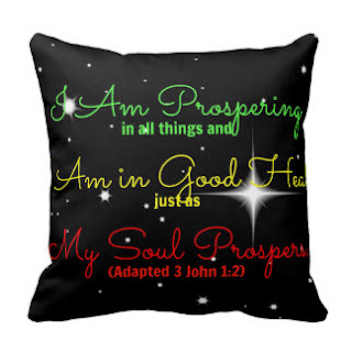 I am prospering in all things and am in great health just as my soul prospers. (Adapted 3 John 1:2) throw pillow