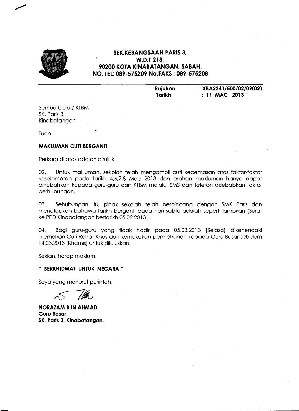 Contoh Surat Cuti Security