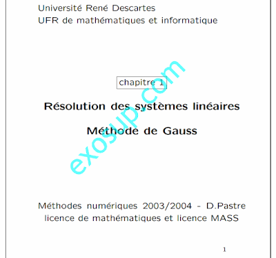 Résolution des systèmes linéaires Méthode de Gauss s1