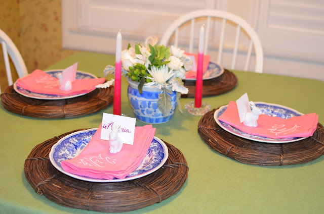 Easter table; easter tablescape; easter dinner