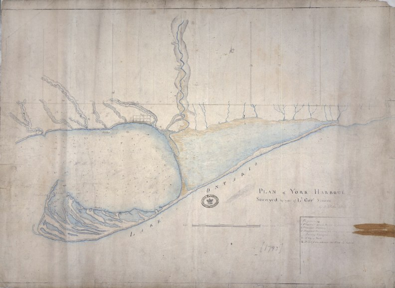 Map: 1793 Plan of York Harbour Surveyed by Order of Lt. Gov. Simcoe, by Alexander Aitken
