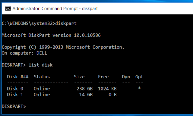 Diskpart List Disk Command