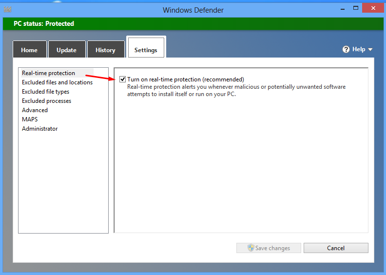 Aktifkan Windows Defender