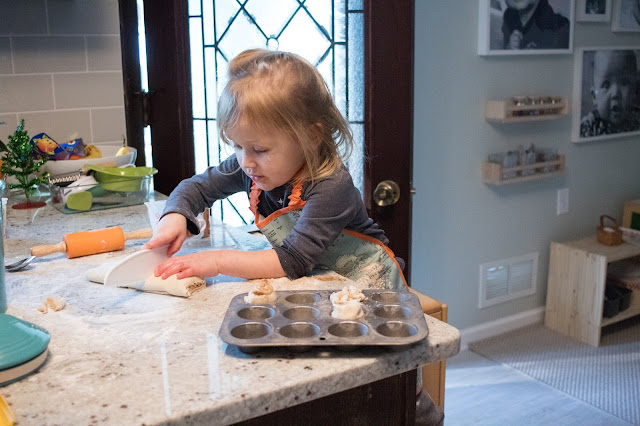 Cinnamon roll recipe for children - so easy that your 3-year-old can bake them. In a Montessori home, children can independently make this treat for themselves and their families.