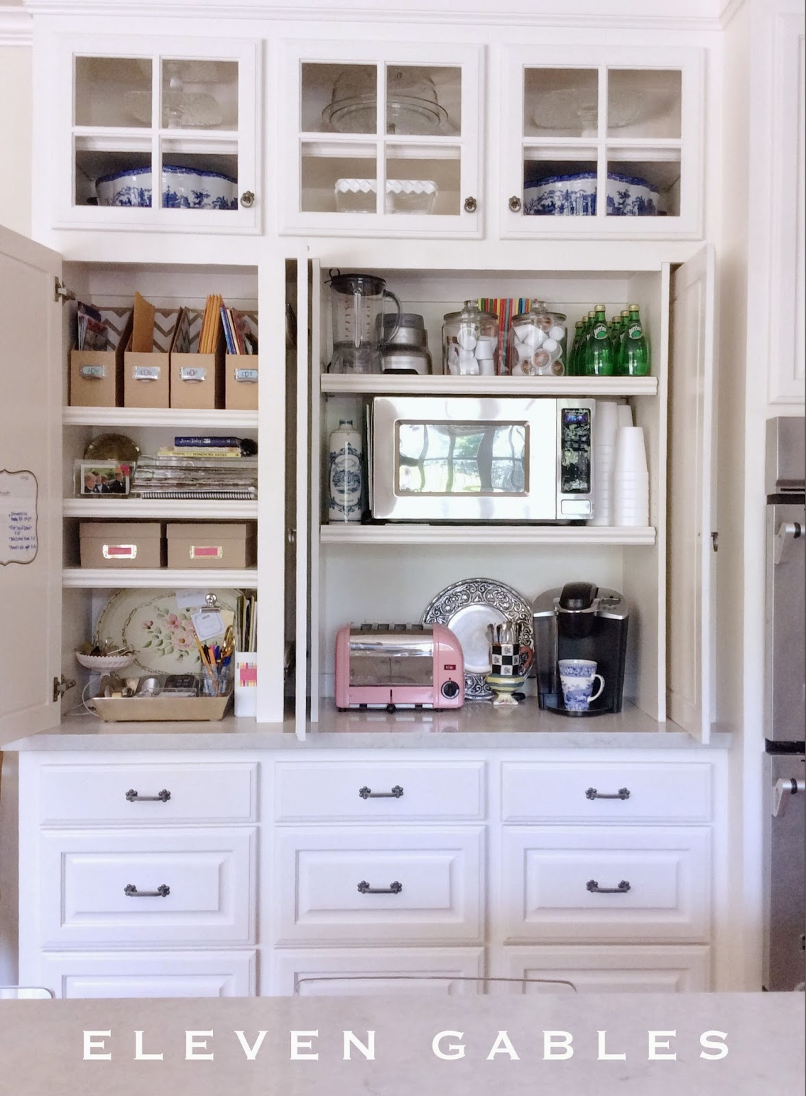 Eleven Gables Hidden Appliance Cabinet And Desk Command