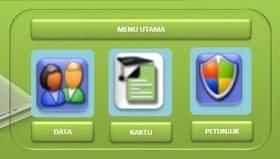Tampilan menu utama aplikasi cetak kartu ujian