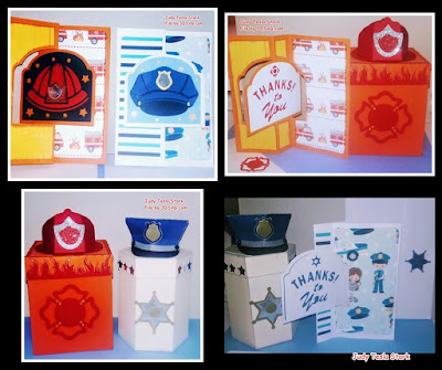 Firemen and Police Gift Boxes and Thank-You Cards