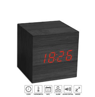 sveglia orologio cubo digitale led legno