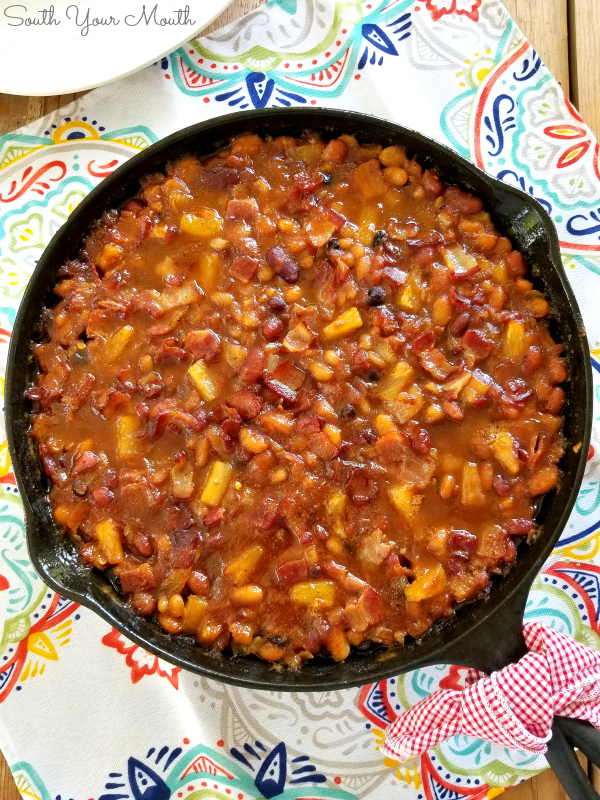 Pineapple & Bacon Baked Beans | A recipe with a Hawaiian twist made with sweet pineapple and smoky bacon or ham! #pineapple #baked #beans #hawaiian #bacon #ham