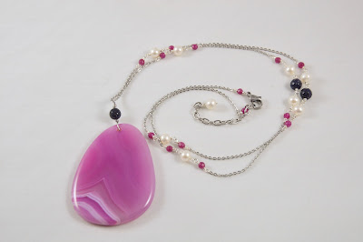 hot pink long stone pendant necklace with white freshwater pearls blue goldstone stainless steel chain adjustable handmade