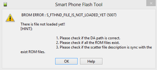 How to cope with s fthndfile is not loaded yet (5007) on this page.