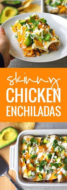 Super Easy Skinny Chicken Enchiladas