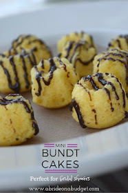 Looking for a great bridal shower dessert? My pick would be mini bundt cakes (with a chocolate drizzle, of course). Get the recipe and instructions on how to make them at www.abrideonabudget.com.