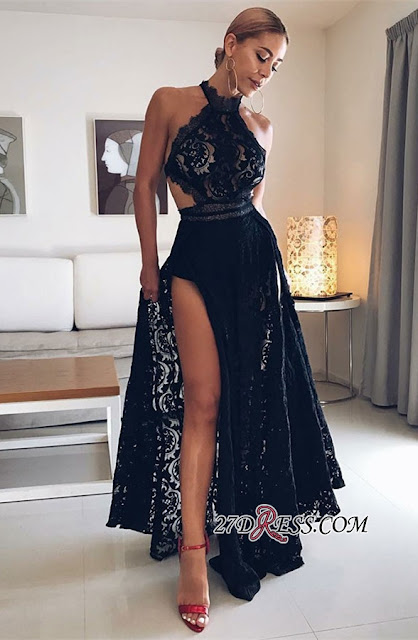 Sexy Halter Black Prom Gowns | 2019 Lace Evening Dress With Slit