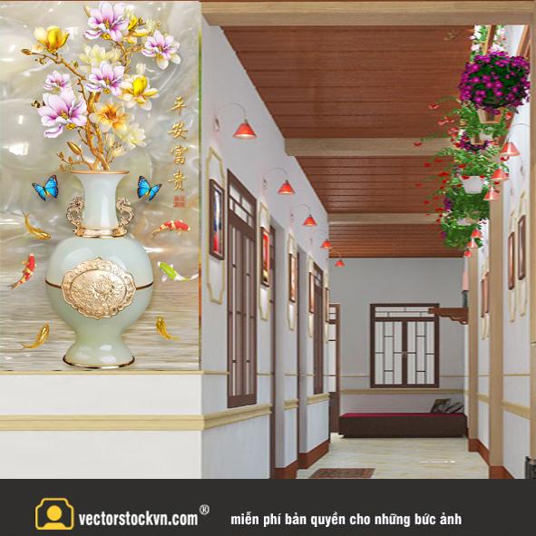 Tranh Bình hoa dán tường