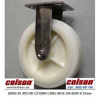 Bánh xe đẩy hàng càng inox 304 Nylon chịu lực 450kg | 4-8498-824 www.banhxepu.net