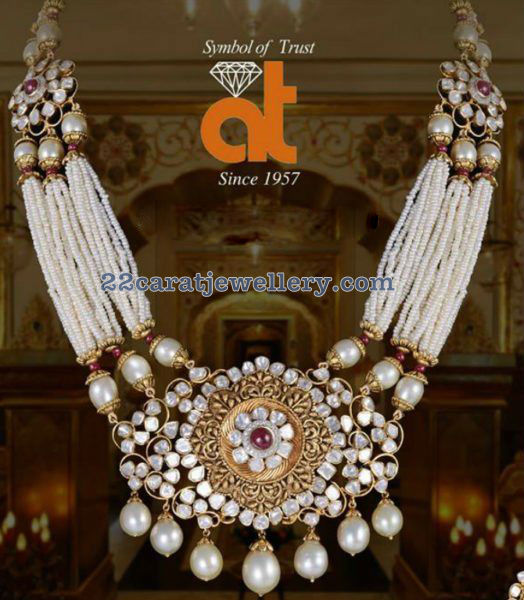 Pearls Set with Pachi Pendant by AT Jewellers